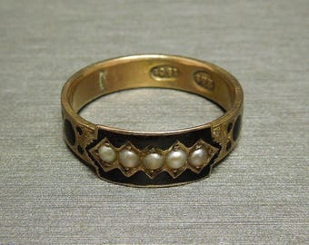 Antique British Victorian Estate C1870 15CT Gold Seed Pearl & Black Enamel Mourning Promise Ring Wedding Band Sz 8