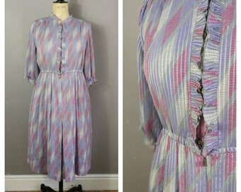 80s purple and grey shirt dress / dress with Ruffles / pink purple geometric dress / 80s midi dress / boho midi dress / vintage pastel dress