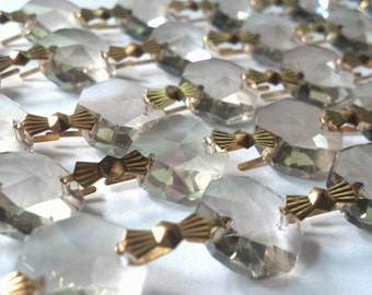 1 Yard Champagne Chandelier Crystal Garland Golden Teak Prism Shabby Chic Wedding Decor