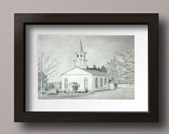 Church Art - Christian Art - Christian Wall Art - Christian Print - Country Church- Inspirational Art - Inspirational Print - Church Drawing