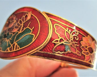 Clamper Cuff Bracelet Burgundy Cloisonne Hinged Bracelet Red Butterfly Floral Gold Vintage Red Cloisonne Cuff Bangle Bridesmaid Gift Jewelry