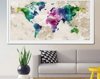World map painting etsy world map wall art world map poster world map art world map painting gumiabroncs Choice Image