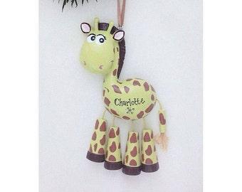 Giraffe Personalized Christmas Ornament - Zoo Animal Ornament - Hand Personalized Christmas Ornament