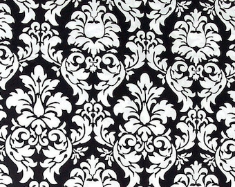 Michael Miller Fabric ,Dandy Damask, Black White - 1 FAT QUARTER