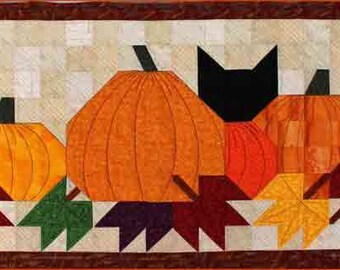 Pumpkat Patch, Table Runner pattern, Instant Download, Pumpkin Table Decor, Fall Decor, Quilt, Table Topper, Autumn, Leaves, Halloween