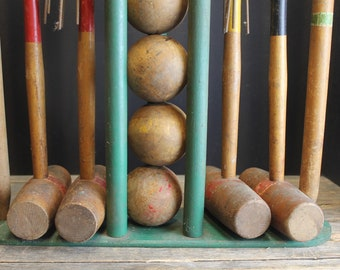 Vintage Croquet Set for 4 With Rack // Mallets // Balls // Wickets  // Stakes // Retro Croquet Set