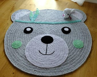 "Nursery rug ""Bärchi""/Bear Carpet/bear/rug/crochet/Teddy/carpet"