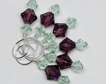 Stitch Markers - Amethyst and Chrysolite Swarovski Crystal