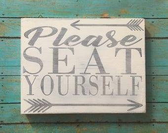 "Bathroom sign - ""Please seat yourself"""