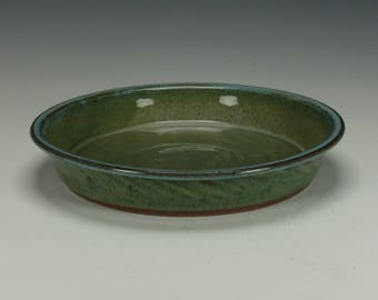 Pie Plate, Stoneware, Blue/ Green with lighter blue lip.  Ready to ship.