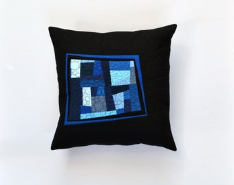 Blue Modern Pillow, Quilted Pillow Cover, Blue Abstract Pillow, Modern Pillow, Blue And Black Pillow, 18 x 18, Throw Pillow