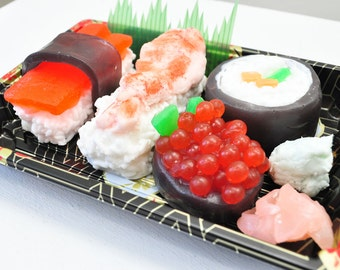 Sushi Soap Gift Set - fake food - dinner soap sushi lover - funny gift - Ginger Fizz Scented - Vegan Soap - food soap - Real Take out box