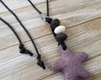 Lava stones, Lava starfish, Starfish charm, Adjustable Essential oils diffuser necklace, Personal Diffuser.