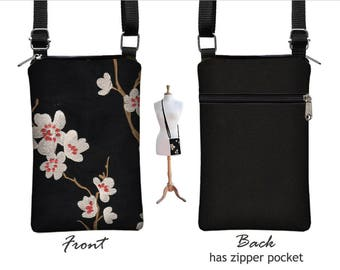 Black iPhone 8 / Plus  Case  Asian Blossom Sling Bag Fabric Cell Phone Purse Small Cross Body Bag, plum cherry red  white  MTO
