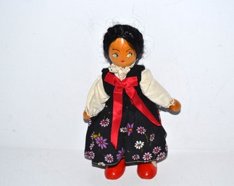 "Vintage Crafty Grandma's  Doll 7"" tall  Blackhawk CO  Original Clothes  wood doll Collectible"
