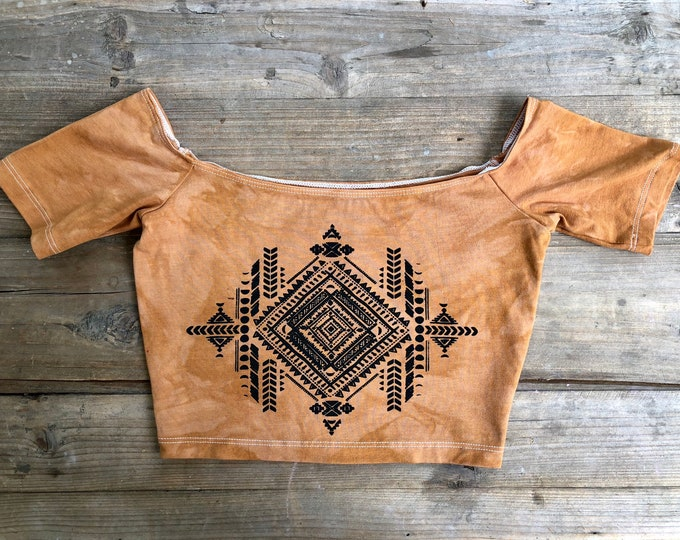 Tribal Moons Dyed Off Shoulder Top - SIZE SMALL ONLY