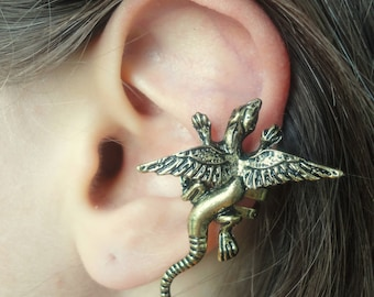 Lizard ear cuff no piercing, salamandra cartilage ear climber, no pierce ear cuff winged lizard earrings, cartilage ear cuff non pierced