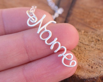 Name Pendant, CHARM ONLY, Personalized, Sterling Silver, Wire Jewelry