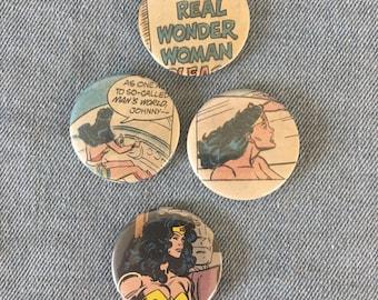 recycled Wonder Woman comic button, Wonder Woman pin set,  wonder woman button, vintage comic, vintage Wonder Woman