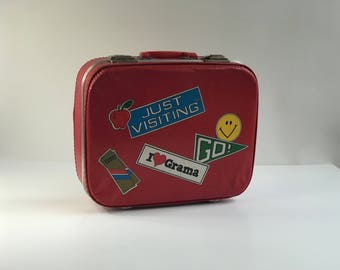 Vintage Red Luggage Girl's Suitcase