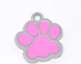 5 Pink Paw Charms, Silver Tone Enamel (1Q-5)