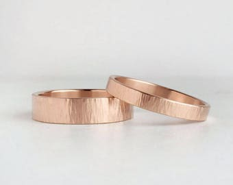 Tree Bark Hammer Texture Rose Gold Wedding Band Set | 3mm and 5mm x 1.3mm gold rings | rustic wedding bands 14k 18k rose gold rings