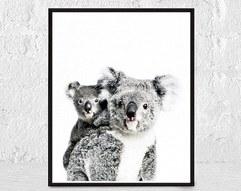 Koala Print, Koala Wall Art, Animal Portrait Print, Nursery Animal Print, Nursery Decor, Woodland Animal Print, Digital Print, Modern art