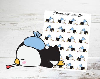 Penguin Planner Stickers // Sick Day // Headache // 002