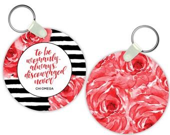 ChiO Chi Omega Floral Motto Sorority Gift Sorority Keychain