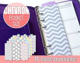 PRINTABLE Pocket Size Chevron DIY Page Markers for Filofax, Kikki.K, Louis Vuitton, Planner, Organiser, Agenda Instant Download