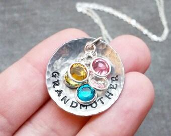Grandmother Necklace, Grandchildren Birthstones, Gift For Grandma, Birthstone Necklace, Grandma Necklace, Swarovski Birthstones, Mothers Day