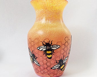 tequila sunrise bee hand painted glass vase