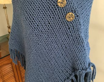 New Homemade Knitted Blue Poncho Warm and Cozy