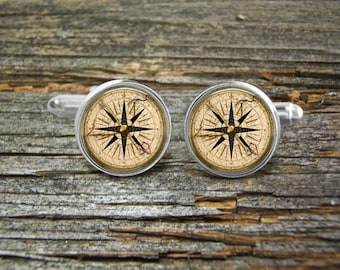 Compass Cufflinks -Wedding-Cufflink Box-Jewelry Box-Silver-Keepsake-Gift-Man gift-Graduation-Fathers Day-Men-History-Nautical-Sailing