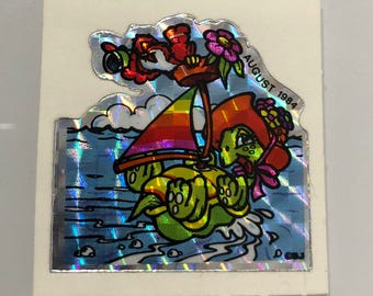 Vintage Rare 80's Prismatic BJ Turtle Sticker