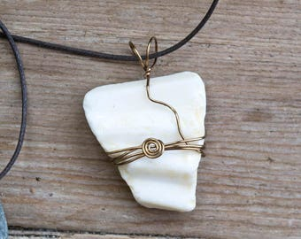 FREE SHIPPING Beach Glass Necklace, Sea Glass Pendant, White Glass necklace, Milk Glass, antiqued brass wire wrapped, cotton cord