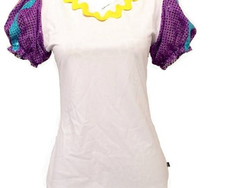 Beauty and the Beast Mrs Potts or Chip Inspired Running Shirt With Puffy Sparkle Sleeves- shirt only
