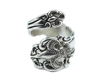 FLEUR De LIS Spoon Ring,  Silver Spoon Rings, New Orleans French Ring