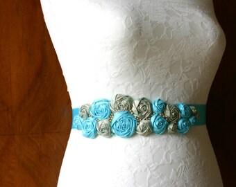 Bridal sash with silk roses, aqua-turquoise-gold, belt, silk dupioni, wedding, with satin band and beads, pearls