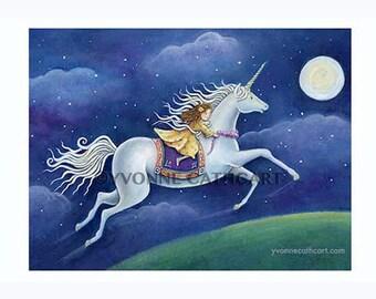 Unicorn art print, unicorn painting, art for girls room, unicorn wall art, fantasy art, unicorn poster, nursery decor, girls nursery prints