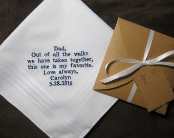 Father of the Bride - Personalized Wedding Handkerchief With Free Gift Envelope - Shown with Navy Blue Non Script Writing