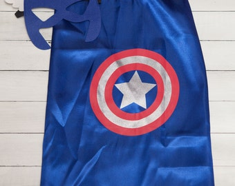 Personalized Captain America Superhero Cape and Masks set costume Party Favor Birthday, Christmas Stocking Stuffer