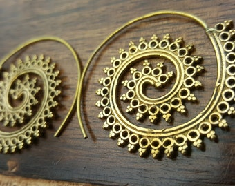 Tribal Swirl Brass Earrings Ethnic Gold Festival Jewelry