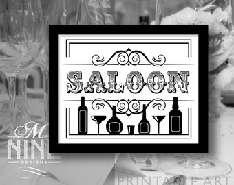 "Black and White Party Printable Sign ""SALOON"" Vintage Party Signs, Printable Party Download, Wedding Bar Signs BW57"