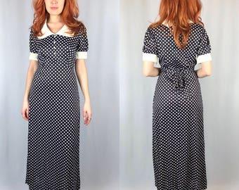Vintage 1970's Polka Dot Maxi Dress
