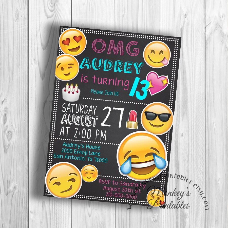 OMG Emoji Partido Invitación Del Cumpleaños De Emoji Emoji
