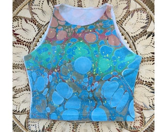 Hand Marbled Crop Top LARGE