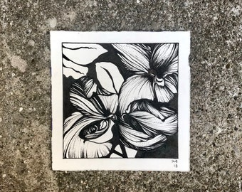 Hibiscus II Black and White Flower Ink Drawing