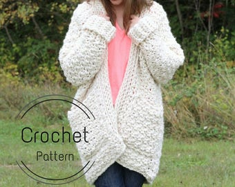 Cloud Cardigan Pattern, Crochet Pattern, Super Chunky Cardigan Pattern, Crochet Cardigan Pattern, Chunky Cardigan Pattern