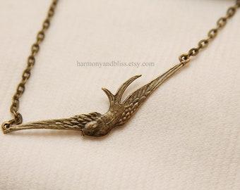 Bird pendant necklace, bird charm necklace, soaring bird charm, bird necklace, bird jewelry, gift under 10, brass bird charm, bird charm